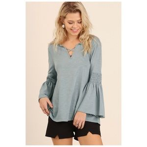 Blue Top with Bell Sleeves and Criss Cross S/M/L